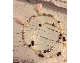 Boho bracelet, Bead Bracelet, set, pink tassels, leaf pendant