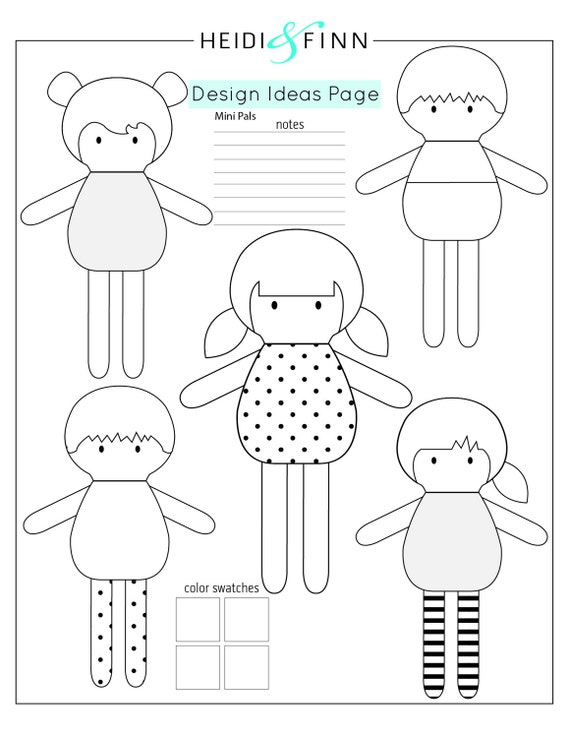 Mini Pals soft rag doll sewing pattern toy softie stuffed doll from ...