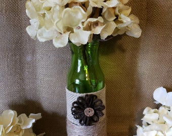 Burlap and Jute Decorated Vase with Floral
