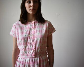 1950s Pink Gingham Dress / Cotton Day Dress / Pink Party Dress / Pink Gingham Shirt Dress / 1950s Pink Dress / Gingham Shirt Dress Small