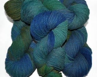 Hand dyed yarn - Columbia Wool yarn, Worsted weight, 170 yards - Helblindi