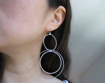 Modern Statement Earrings - silver orbital edgy jewelry, minimalist dangle hoop - Multi Circle