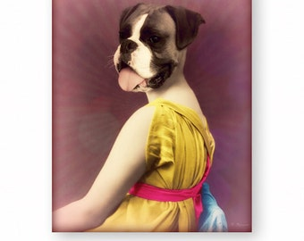 "Dog Art Print Boxer Dog Art Anthropomorphic Photography Mixed Media Collage Art Funny Animals (3 Sizes Available) ""The Chartreuse Dress"""