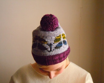 Leaves pompom beanie- purple, gray, green, yellow
