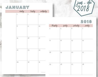 The 2 Page Calendar, Monday Start | January - December 2018 | A5 Size | Printable Planner | Printable Calendar | OG Style