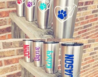 Vet Tech Tumbler - Stainless Steel Tumbler - Vet Tech Gift - Veterinarian Gift - Paw Print Tumbler - Animal Lover Gift - Personalized