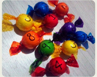 Counting, sweets, learning,maths, educational, colourful, rainbow, counters,Montessori,birthday, gifts for kids,numbers