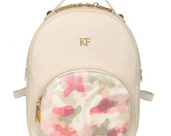 Leather Backpack, Leather Backpack Women, Beige Leather Backpack KF-1140