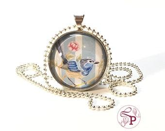 SIlver necklace | Blue bird necklace | Long necklace | Pendant necklace | Bird Necklace | Bird Pendant | Silver bird necklace | Bluebird