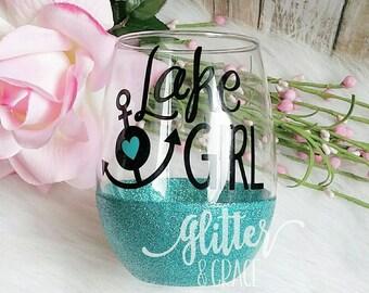 Lake Girl // Glitter Dipped Stemless Wine Glass