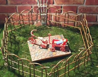 Fairy Garden Accessories Tricycle Coral Trike Mini Fence Miniature Coral  Wagon Terrarium, Gnome Garden Mini