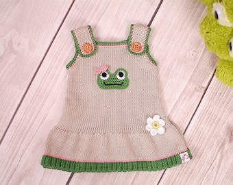 Frog dress, baby knit dress, child