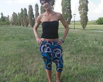 Harem Pants Corti, Harem Pants in tessuto Wax Originale Africano, Harem Pants Originali, Harem Pants blu
