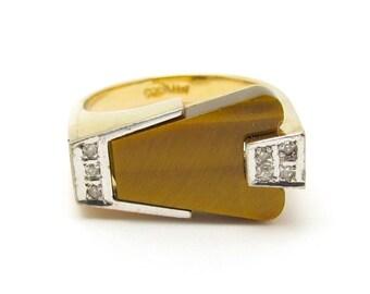Vintage Diamond Ring, Tiger Eye Ring, Vintage Unisex Ring, Vintage 14KT GOLD Ring, Diamond Tiger Eye Modernist Mid Century Modern, Size 7.25