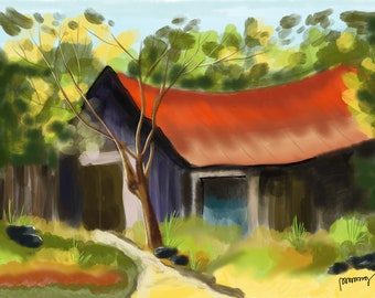 Red House In Woods