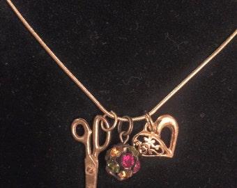 Scissors vintage charm necklace