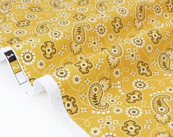 Cotton fabric lightweight Paisley mustard yellow background x 50cm