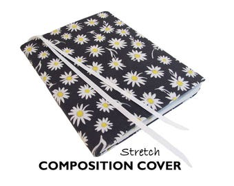 Composition Book Cover DAISIES Composition Journal, Bujo Notebook, Fabric Journal Cover, Bullet Journal Cover, Bujo Cover, Bujo Accessories