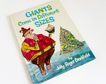 Vintage 1960s Childrens Book / Giants Come in Different Sizes by Jolly Roger Bradfield 1966 Hc / Clouds Come To Stay Over Sunny Dingleburg