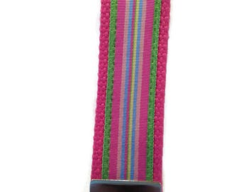 Pink Striped Ribbon Key Fob