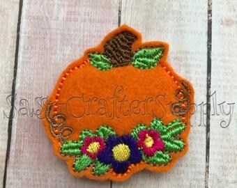Flower Pumpkin Feltie Bow Center - Embroidered Pumpkin Feltie - Orange Pumpkin Felt Embellishment - Cut Felties - Uncut Wholesale Felties
