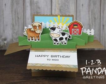 Farm Birthday Box Pop Up card