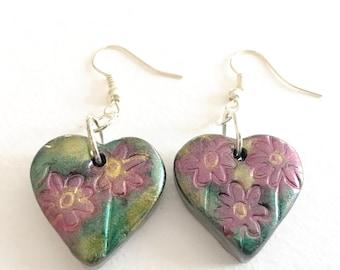 Heart Earrings - small heart shaped polymrr clay dangle earrings