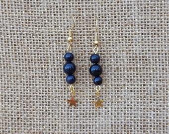 Starry Night Blue Goldstone Celestial Star Charm Earrings