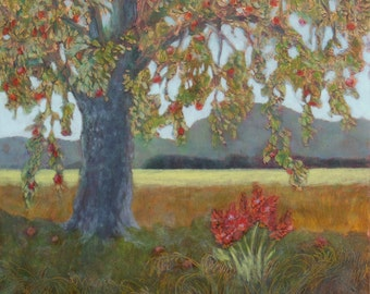 Skagit Valley Apple Tree Daily Oil Painting on Copper Farm Land Fruit and Flowers Grow Here Landscape Original Fine Art One of a Kind