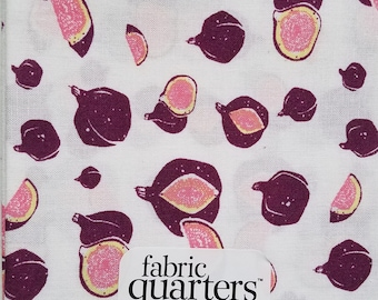 """Fabric Quarters Cotton Fabric 18""""- Figs on White"""