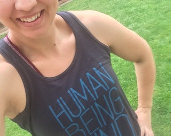 Graphic Tank: Human Being Kind Women's Flowy Yoga Tank IN STOCK