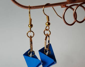 Navy Blue boat origami earrings