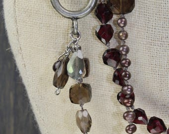 Garnet Pearl smokey quartz labradorite boho hand knotted long layered necklace, charm necklace antique silver wrap bracelet
