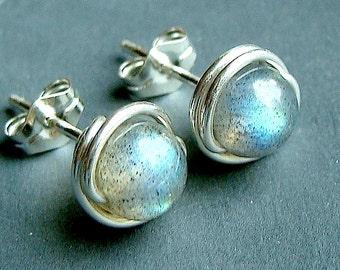 Labradorite Studs Labradorite Earrings 6mm Wire Wrapped in Sterling Silver Stud Earrings Labradorite Post Earrings
