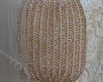 Small Wedding Purse, Bridal Purse, Bead Knitted Purse, Handmade, Swarovski Crystals, Cream and Gold with Gold, Silver and Champagne Beads