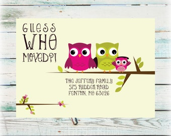 Printable Owl We've Moved Announcement - Digital File