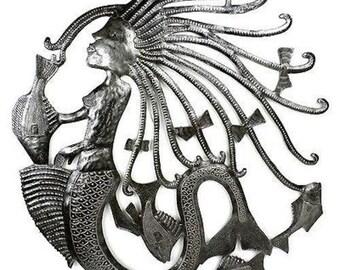 """New 24"""" Handcrafted Mermaid Oil Drum Metal Wall Sculpture"""