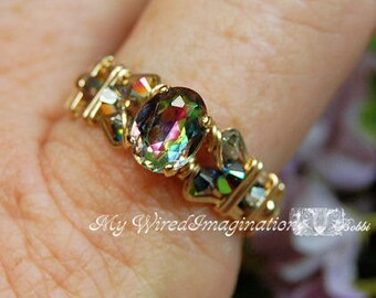 Petite Vintage Swarovski Vitrail Medium Crystal, Handmade Ring, Limited Edition Wire Wrapped Ring, Vitrail Medium Crystal, Fine Jewelry
