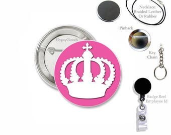 "1.50"" Royalty Crown Mylar Covered Button Badge Holder Retractable Reel, snap clip for your work Employee ID, Hospitals"