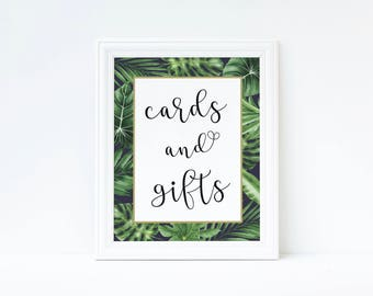 tropical wedding decor, Printable cards and gifts, Cards and gifts sign, Wedding decor, gifts and cards sign, printable gifts sign,