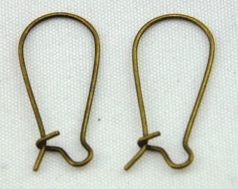 French Earwire -100pcs Antique Bronze Kidney Earwires Earring Findings ----11*24mm---E0016