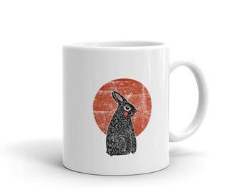 Vintage Bunny Rabbit Animal Linocut ArtMug