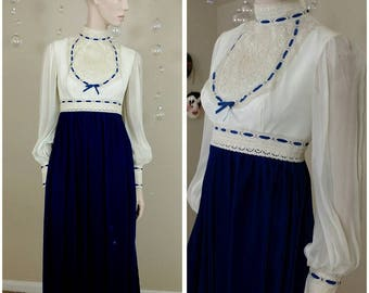 Vintage handmade maxi dress Victorian style lace and velvet