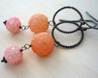 Oxidized sterling silver & japanese sugar glass melon bead drop earrings.