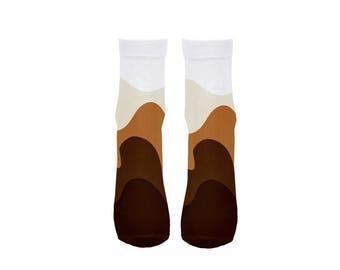 Socks coffee white brown cafe latte milk cute tasty cozy warm
