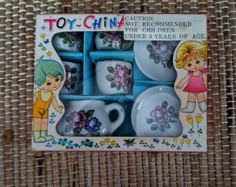 Toy China Tea Set // Tea For Two // Teacup Saucer // Creamer Sugar Set // Japan // c. 1960's
