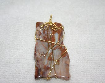 Wire Wrapped Agate Stone Pendant