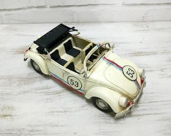 VW Beetle -White Drophead Herbie Vintage Design Tin Vosvos -Herbie Volkswagen Bug - Hippie Vintage Design