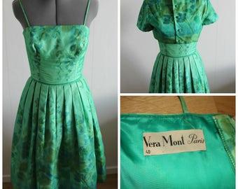 Vintage 50s Dress Women, Rare 50s dress, Green floral gown, 1950s floral dress, Floral, Cotton, Silk, Small,