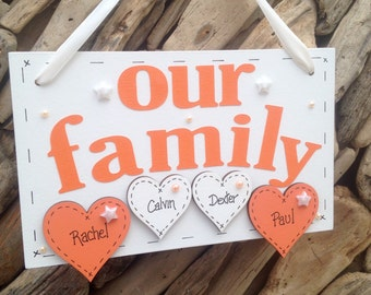 Personalised Handmade Our Family Plaque with Hearts Bones and Paw Prints